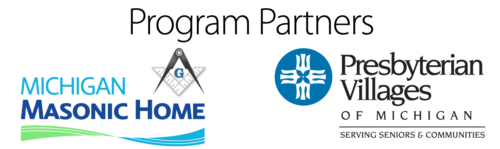 Logos for PACE Central Michigan Program Partners: Michigan Masonic Home and Presbyterian Villages